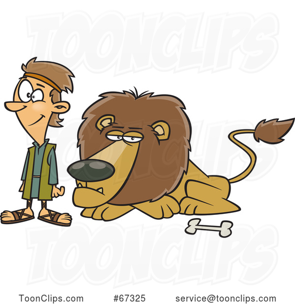 Cartoon Resting Lion and Daniel