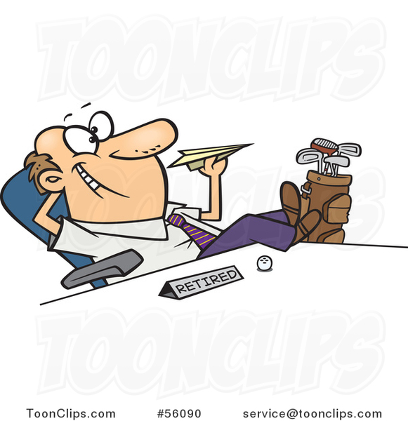 Cartoon Retired White Business Man with Golf Clubs at His Side ... on cartoon golf club clip art, cartoon golf club swing, the step to draw a cartoon golf club, cartoon man golf club,