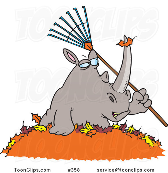 Cartoon Rhino Holding A Rake In A Pile Of Leaves 358 By Ron Leishman