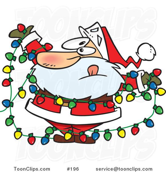 Cartoon Christmas Lights.Cartoon Santa Claus Tangled In A Mess Of Colorful Christmas