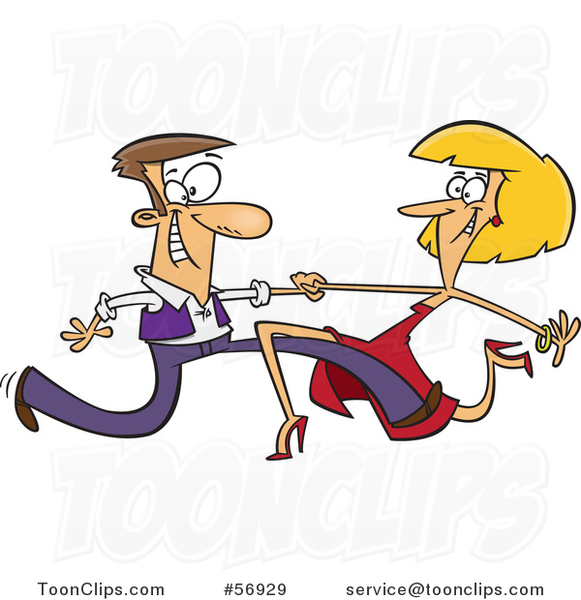 Cartoon Skinny Long Legged White Couple Dancing