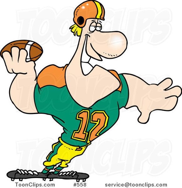 Cartoon Strong Quaterback Holding a Football