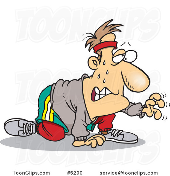cartoon sweaty guy exercising for his new year resolution by toonaday 5290 cartoon sweaty guy exercising for his new year resolution 5290 by