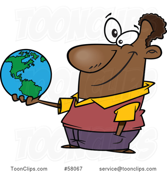 Cartoon Teacher Holding a Globe