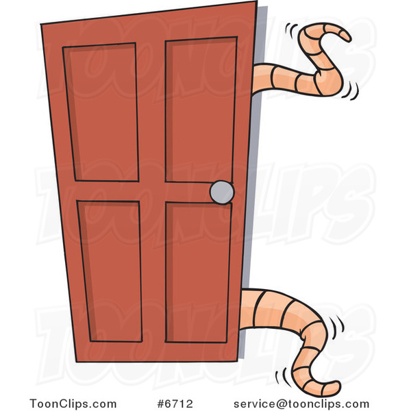 Cartoon Tentacles Opening A Closet Door 6712 By Ron Leishman