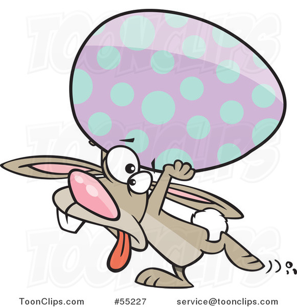 Cartoon Tired Easter Bunny Carrying a Big Egg