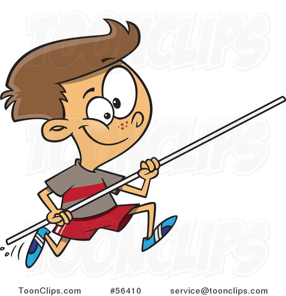 Cartoon Track and Field Brunette White Pole Vault Boy Running #56410 by Ron Leishman