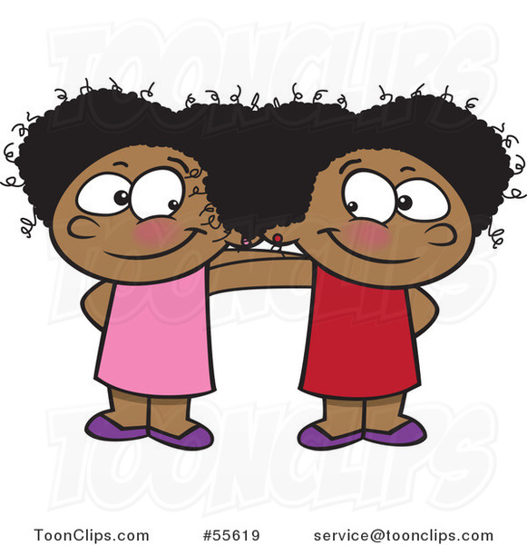 Cartoon Two Cute Happy Black Girls Standing Together