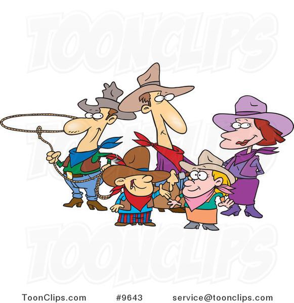 Cartoon Western Cowboy Family 9643 By Ron Leishman