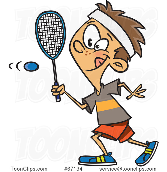Cartoon White Boy Playing Squash