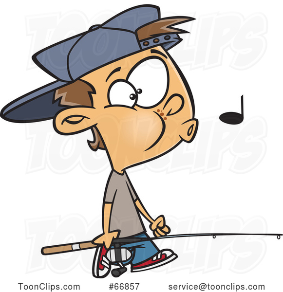 Cartoon White Boy Whistling and Carrying a Fishing Pole