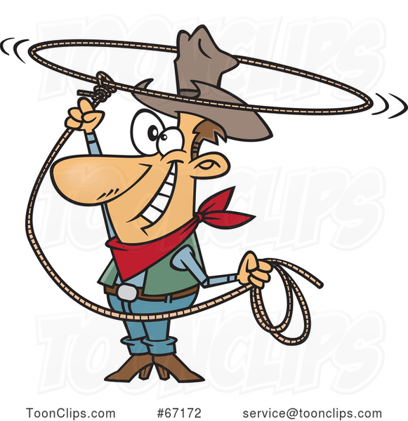 Cartoon White Cowboy Swinging a Lasso and Performing a Rope Trick