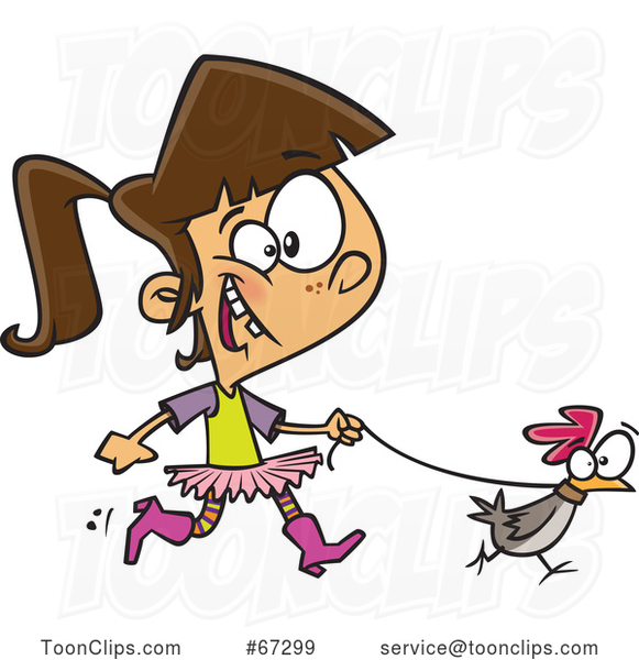 Cartoon White Girl Walking a Chicken on a Leash