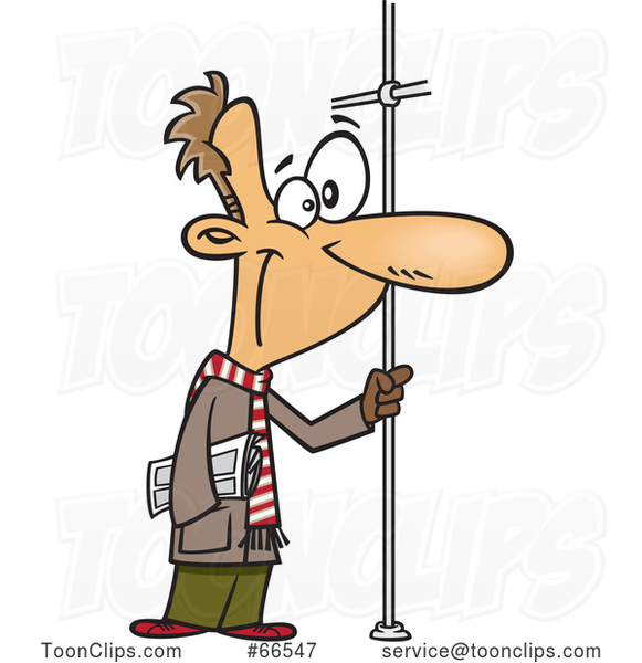 Cartoon White Guy Riding a Bus, Holding onto a Pole