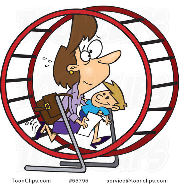 Cartoon White Mother Struggling with Parenting and Work in a Hamster Wheel