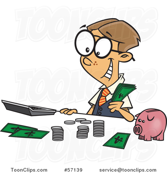 Cartoon Young White Accountant Boy Counting Money by a Piggy Bank
