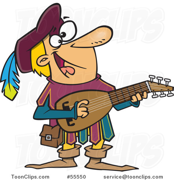 Happy Minstrel Playing an Instrument Cartoon