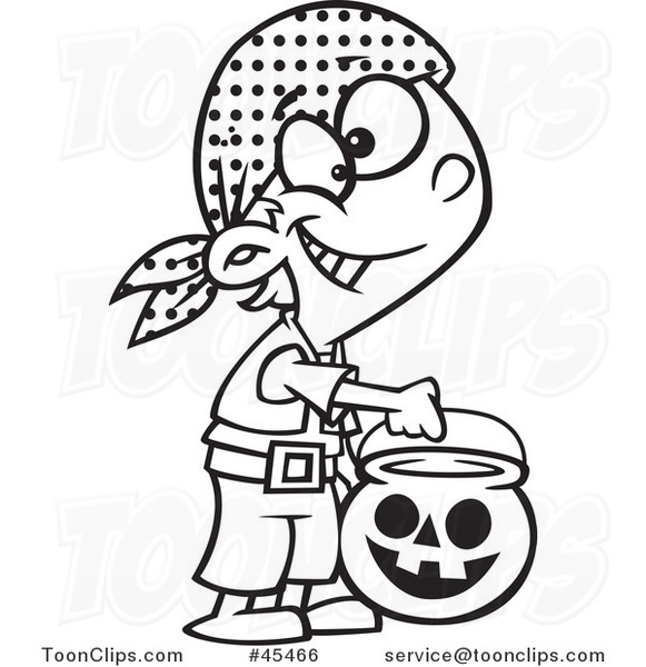 Outlined Cartoon Halloween Boy Trick or Treating As a Pirate