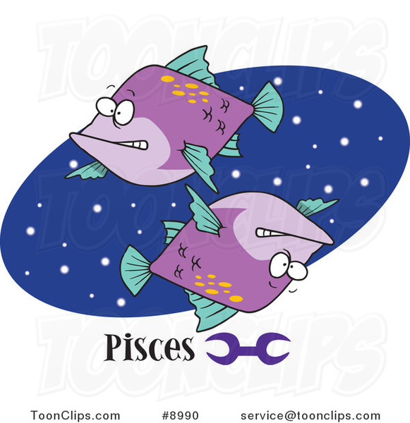 Royalty-Free (RF) Clip Art Illustration of Cartoon Pisces Astrology Fish over a Blue Oval